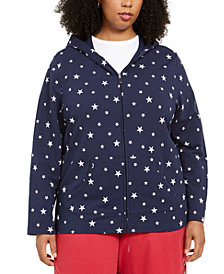 Karen Scott Plus Size Star-Print Hoodie, Created for Macy's