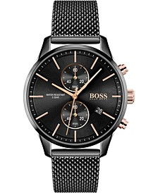 Men's Chronograph Associate Black Stainless Steel Mesh Bracelet Watch 42mm