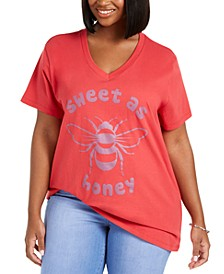 Trendy Plus Size Cotton Sweet As Honey Graphic T-Shirt