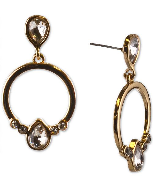 Charter Club Gold-Tone Crystal & Circle Drop Earrings, Created For Macy's