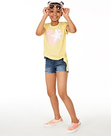 Big Girls Star T-Shirt & Rainbow Wallet Denim Shorts Separates, Created for Macy's