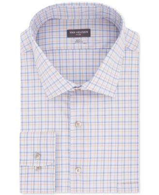 Macys Van Heusen Grey White Striped Wrinkle Free Cotton Blend Dress Shirt