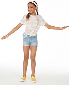 Big Girls Rainbow Stripe T-Shirt & Heart-Wallet Shorts Separates, Created for Macy's