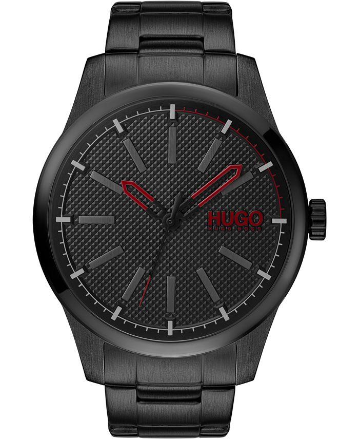 HUGO - Men's #Invent Black Stainless Steel Bracelet Watch 46mm
