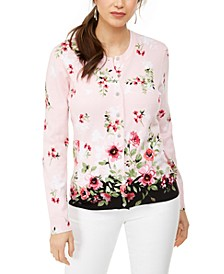 Cascading Rose Printed Button Cardigan, Created for Macy's