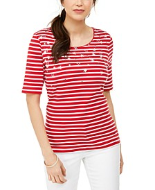 Printed Elbow-Sleeve Cotton Top, Created for Macy's