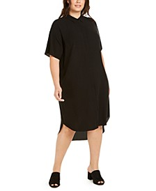 Plus Size Silk Shirtdress