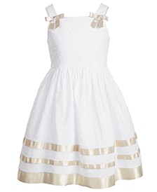 Little Girls Clip-Dot Ribbon-Trim Dress