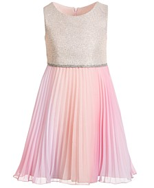 Little Girls Sleeveless Knit-Bodice Dress with Pleated Chiffon Skirt