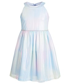 Little Girls Rainbow Lace Metallic Dress