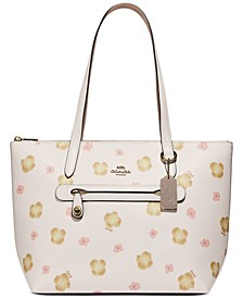 Taylor Pansy Print Leather Tote