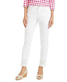 Eyelet-Ankle White Jeans, Created for Macy's