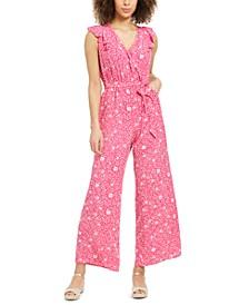 Petite Printed Flutter-Sleeve Jumpsuit, Created for Macy's