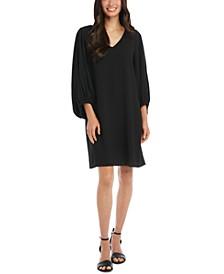Blouson-Sleeve Shift Dress