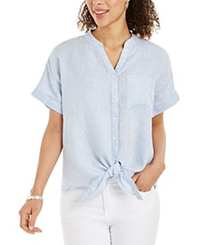 Linen Tie-Front Button-Up Shirt, Created for Macy's