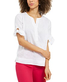 Linen Split-Neck Tie-Cuff Top, Created for Macy's