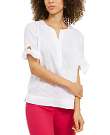 Charter Club Linen Split-Neck Tie-Cuff Top, Created for Macy's
