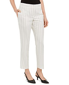 Pinstripe Slim-Ankle Dress Pants