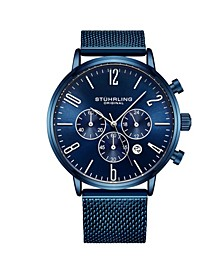 Men's Blue Mesh Stainless Steel Bracelet Watch 48mm