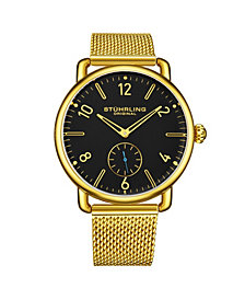Stuhrling Men's Gold Tone Stainless Steel Bracelet Watch 42mm