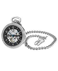 Women's Silver Tone Stainless Steel Chain Pocket Watch 48mm