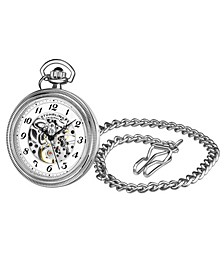 Men's Silver Tone Stainless Steel Chain Pocket Watch 48mm