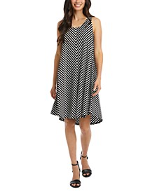 Mitered-Stripe High-Low Sleeveless Dress
