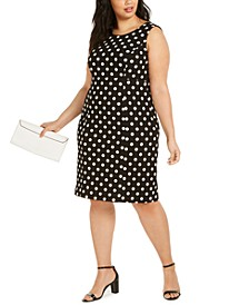 Plus Size Polka-Dot Sheath Dress
