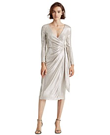 Metallic Surplice Dress