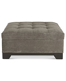 CLOSEOUT! Elliot Fabric Microfiber Storage Ottoman, Created for Macy's