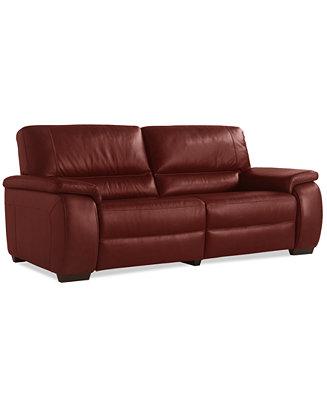 Marchella Leather Dual Power Reclining Sofa Furniture