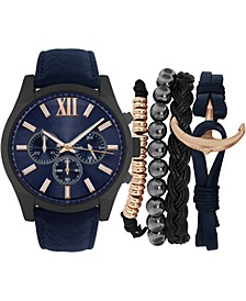 Men's Navy Strap Watch 47mm Gift Set
