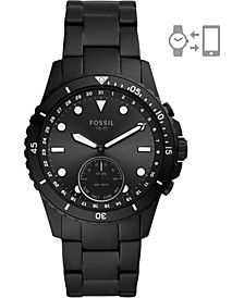 Men's FB-01 Black Stainless Steel Bracelet Hybrid Smart Watch 42mm