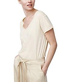 Raw-Edge V-Neck Cotton T-Shirt