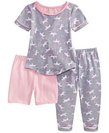 Baby & Toddler Girls 3-Pc. Printed Top, Shorts & Pants Pajama Set