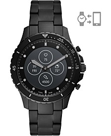 Tech Men's FB-01 HR Black-Tone Stainless Steel Bracelet Hybrid Smart Watch 42mm
