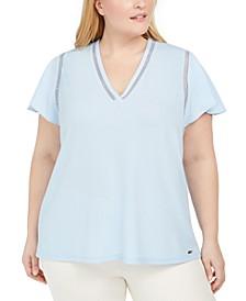 Plus Size Flutter-Sleeve Blouse
