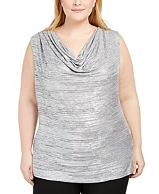 Plus Size Cowlneck Foil Top
