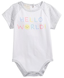 Baby Boys Hello World Raglan-Sleeve Bodysuit, Created for Macy's