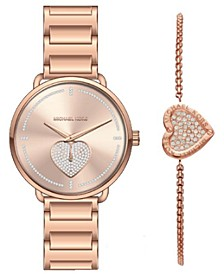 Women's Portia Rose Gold-Tone Stainless Steel Bracelet Watch 37mm Gift Set