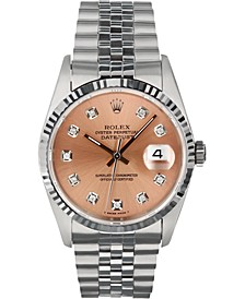Men's Swiss Automatic Datejust Copper Diamond Dial in 18K White Gold Bracelet Watch, 36mm