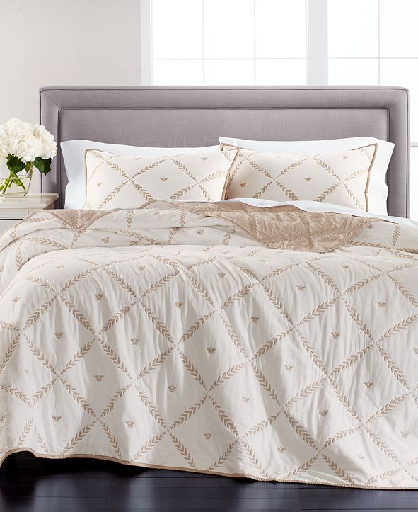 Martha Stewart Collection Honey Bee Embroidery Reversible Full/Queen Quilt, Created for Macy's