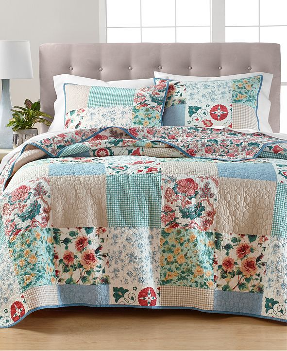 Martha Stewart Collection Country Flora Patchwork Reversible Full/Queen Quilt, Created for Macy's