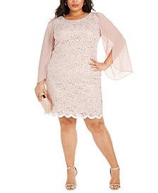 Connected Plus Size Lace Chiffon-Sleeve Sheath Dress