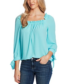 Ruched-Neck Tie-Sleeve Top