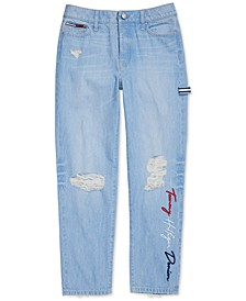 Women's Boyfriend Jeans with Adjustable Waist and Magnet Buttons