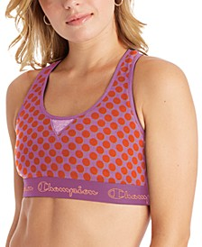 Women's Authentic Logo-Print Cutout Racerback Medium-Support Sports Bra