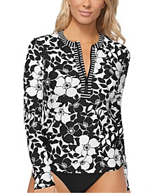 Lei Day Printed Half-Zip Rashguard, Created for Macy's