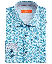 Men's Slim-Fit Performance Stretch White/Blue Floral-Print Dress Shirt