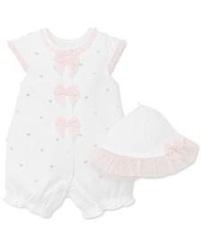 Baby Girls 2-Pc. Cotton Hat & Hearts Romper Set